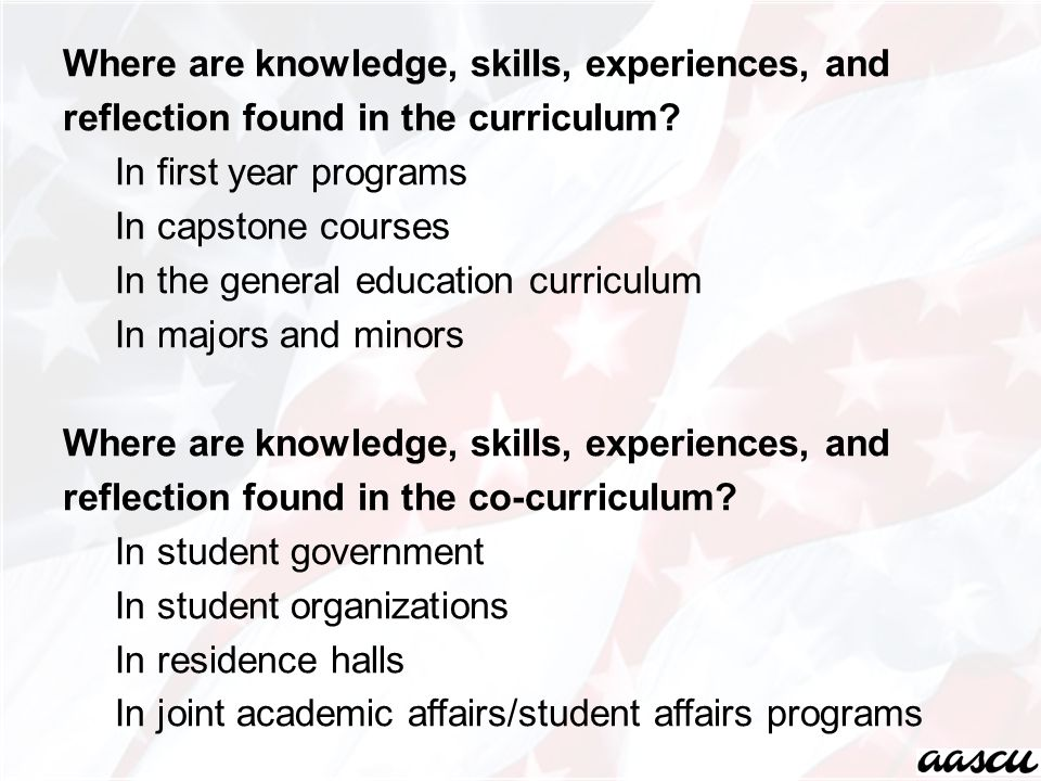 Where are knowledge, skills, experiences, and reflection found in the curriculum.