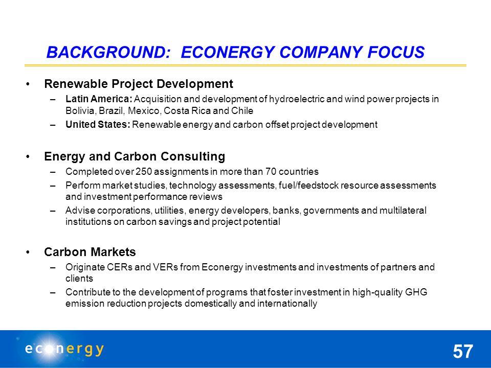 Questions & Discussion Andrew Paterson Director – Economics & Finance Consulting / North America ECONERGY www.econergy.com 202-822-4981 x311 adpaterson@econergy.com Environmental Market data: www.ebiusa.com 56