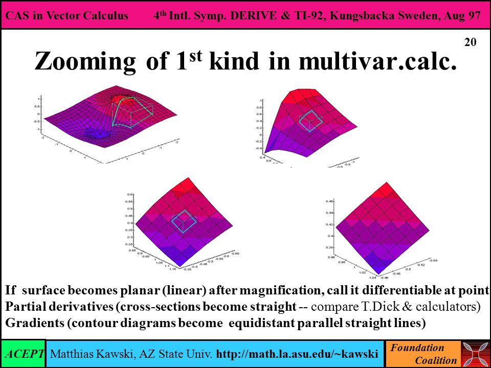 Foundation Coalition CAS in Vector Calculus 4 th Intl.