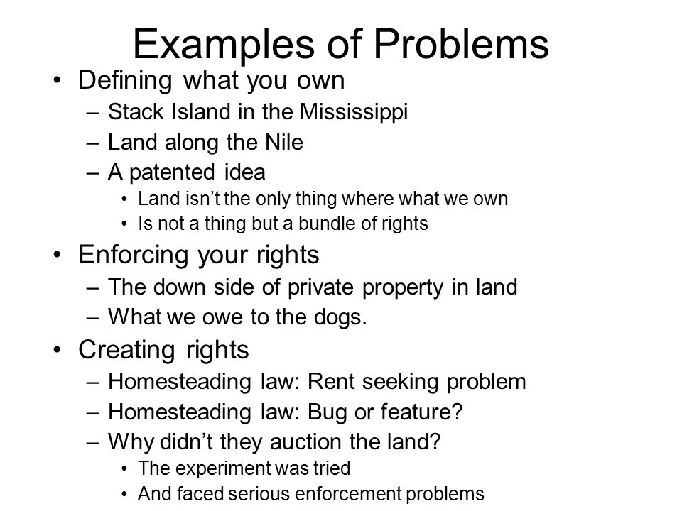 Examples of Problems Defining what you own –Stack Island in the Mississippi –Land along the Nile –A patented idea Land isn't the only thing where what
