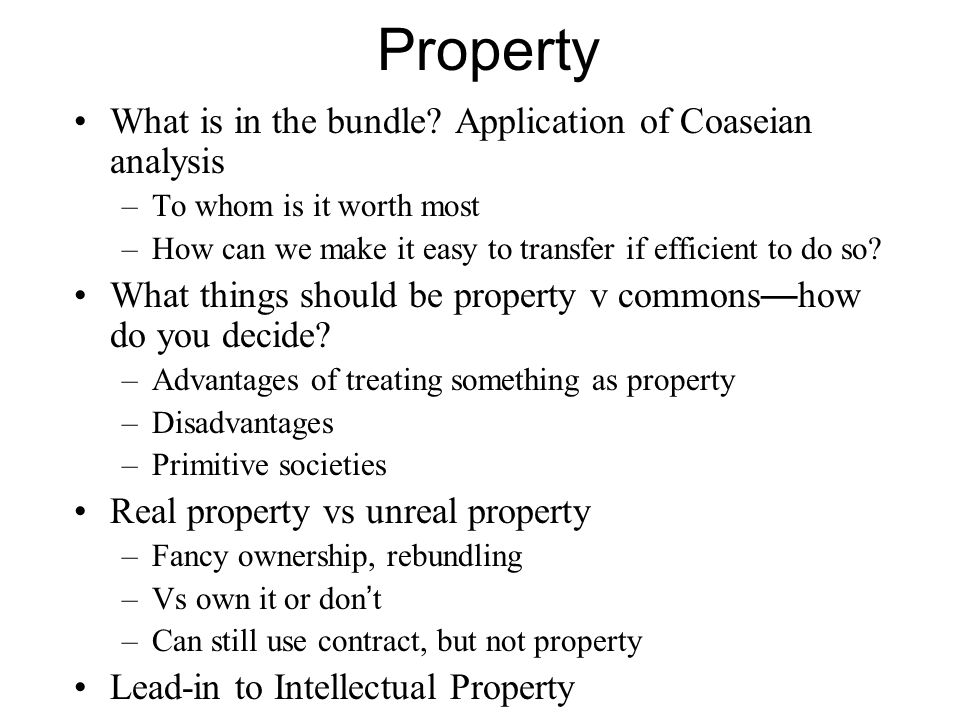 Economic Analysis: Copyright Copyright covers things where –Property lines can be sharply drawn –Trespass can be easily observed (except for small scale copying) –No depleting the commons problem Because writing the same book by chance vanishingly unlikely Scenes a faire exception takes care of the special case And independent invention not covered takes care of the other special case Thus incentive is not too high.