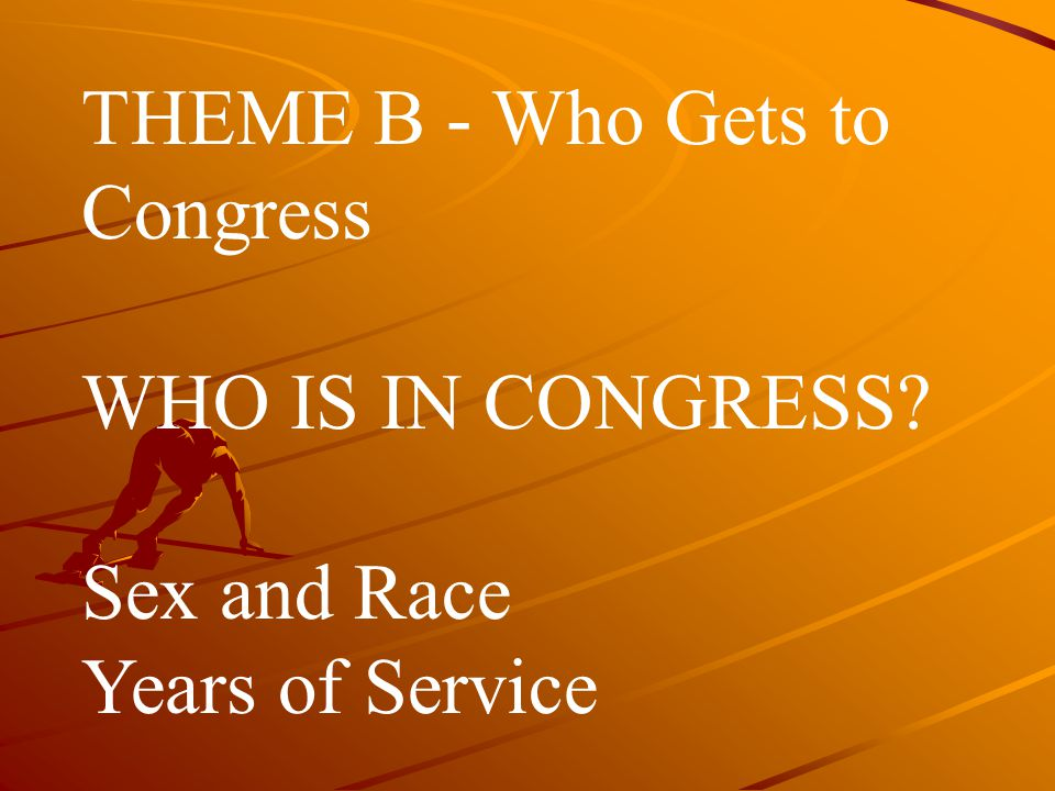 THEME B ‑ Who Gets to Congress WHO IS IN CONGRESS? Sex and Race Years of Service