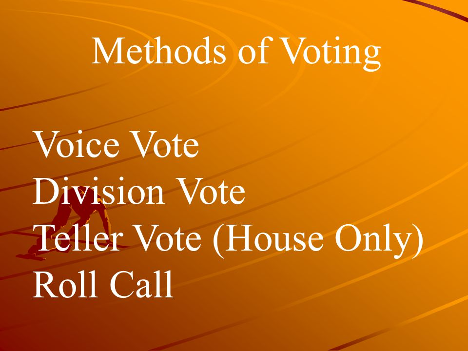 Methods of Voting Voice Vote Division Vote Teller Vote (House Only) Roll Call