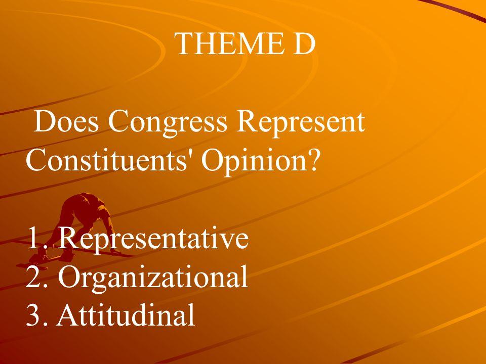 THEME D Does Congress Represent Constituents' Opinion? 1. Representative 2. Organizational 3. Attitudinal