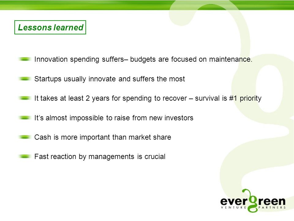 Lessons learned Innovation spending suffers– budgets are focused on maintenance.