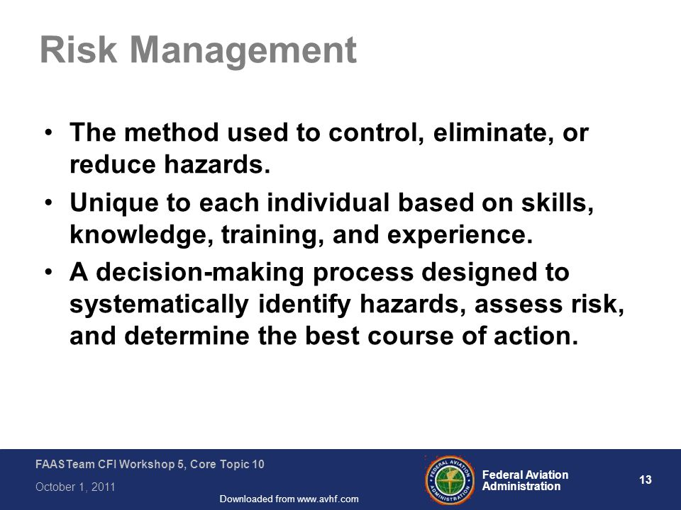 13 Federal Aviation Administration FAASTeam CFI Workshop 5, Core Topic 10 October 1, 2011 Downloaded from www.avhf.com Risk Management The method used