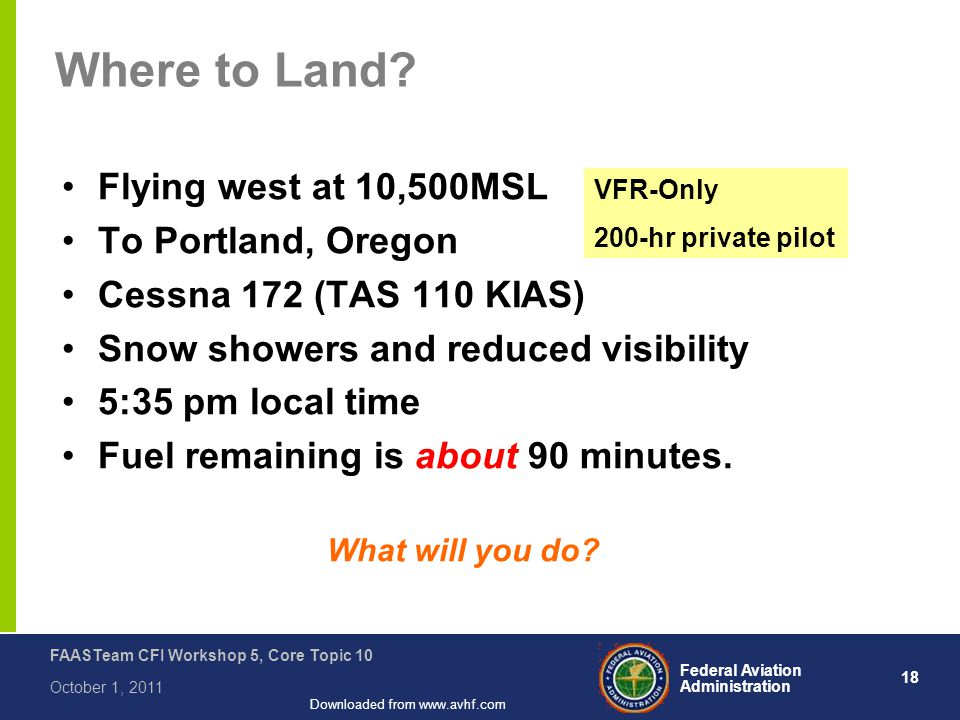 18 Federal Aviation Administration FAASTeam CFI Workshop 5, Core Topic 10 October 1, 2011 Downloaded from www.avhf.com Where to Land.