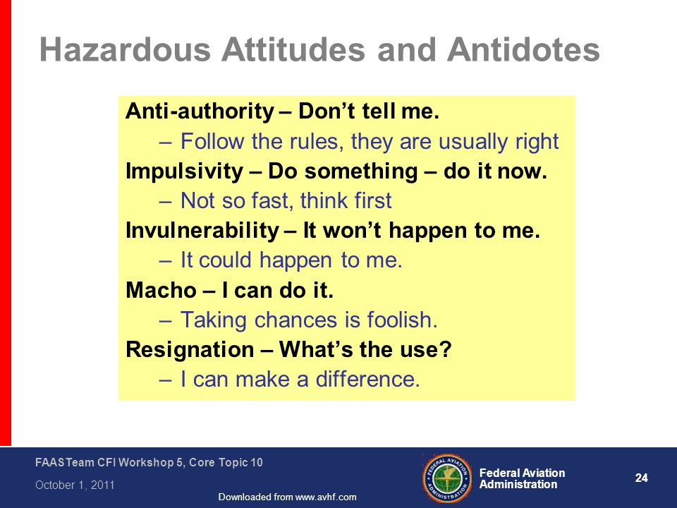24 Federal Aviation Administration FAASTeam CFI Workshop 5, Core Topic 10 October 1, 2011 Downloaded from www.avhf.com Hazardous Attitudes and Antidotes Anti-authority – Don't tell me.