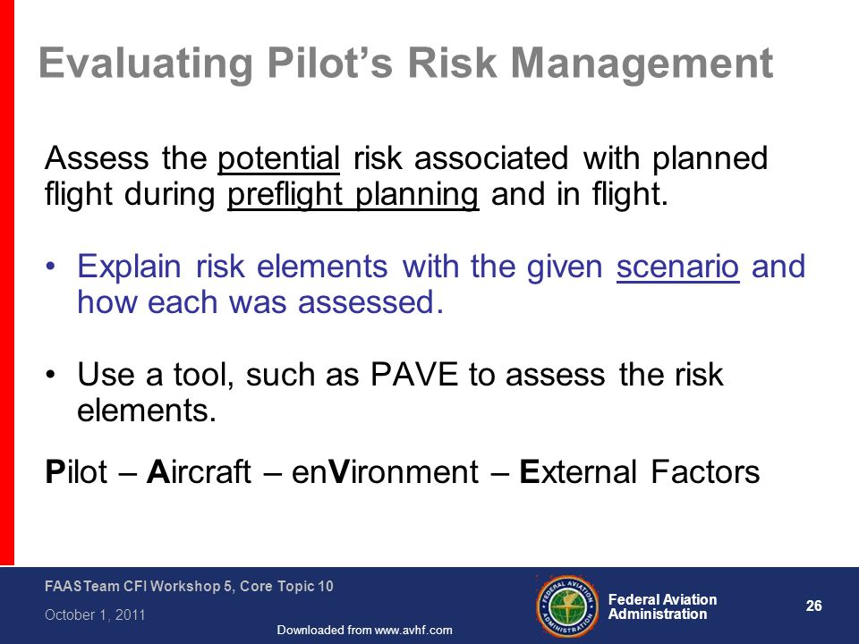 26 Federal Aviation Administration FAASTeam CFI Workshop 5, Core Topic 10 October 1, 2011 Downloaded from www.avhf.com Evaluating Pilot's Risk Managem