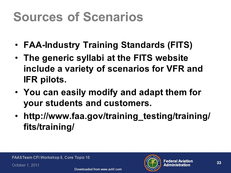 33 Federal Aviation Administration FAASTeam CFI Workshop 5, Core Topic 10 October 1, 2011 Downloaded from www.avhf.com Sources of Scenarios FAA-Industry Training Standards (FITS) The generic syllabi at the FITS website include a variety of scenarios for VFR and IFR pilots.