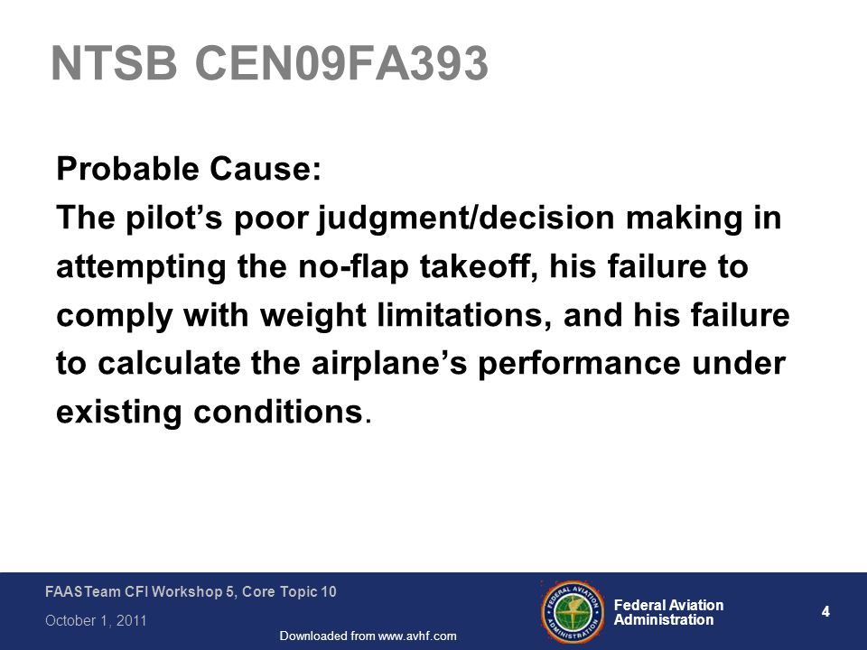 4 Federal Aviation Administration FAASTeam CFI Workshop 5, Core Topic 10 October 1, 2011 Downloaded from www.avhf.com NTSB CEN09FA393 Probable Cause: