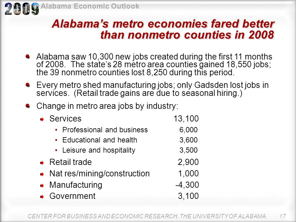 Alabama Economic Outlook CENTER FOR BUSINESS AND ECONOMIC RESEARCH, THE UNIVERSITY OF ALABAMA 16 Unemployment up, but below U.S.