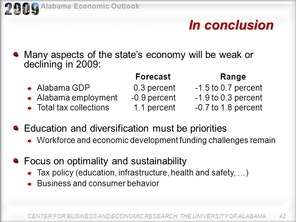 Alabama Economic Outlook Alabama Education Trust Fund and General Fund CENTER FOR BUSINESS AND ECONOMIC RESEARCH, THE UNIVERSITY OF ALABAMA 41 Source: