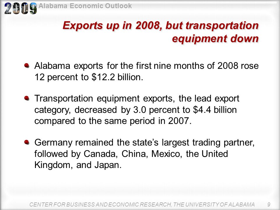 Alabama Economic Outlook CENTER FOR BUSINESS AND ECONOMIC RESEARCH, THE UNIVERSITY OF ALABAMA 8 Germany, Canada major export destinations Alabama Expo