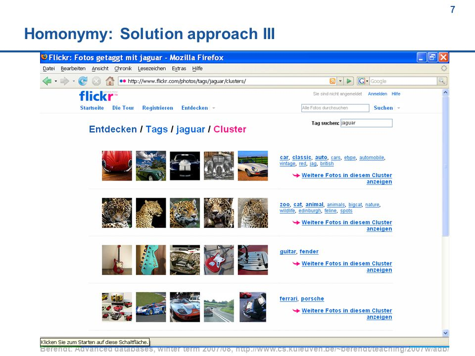 68 Berendt: Advanced databases, winter term 2007/08, http://www.cs.kuleuven.be/~berendt/teaching/2007w/adb/ 68 FOAF example (1) <rdf:RDF xmlns:rdf= http://www.w3.org/1999/02/22-rdf-syntax-ns# xmlns:foaf= http://xmlns.com/foaf/0.1/ xmlns:rdfs= http://www.w3.org/2000/01/rdf-schema# > Jimmy Wales Jimbo