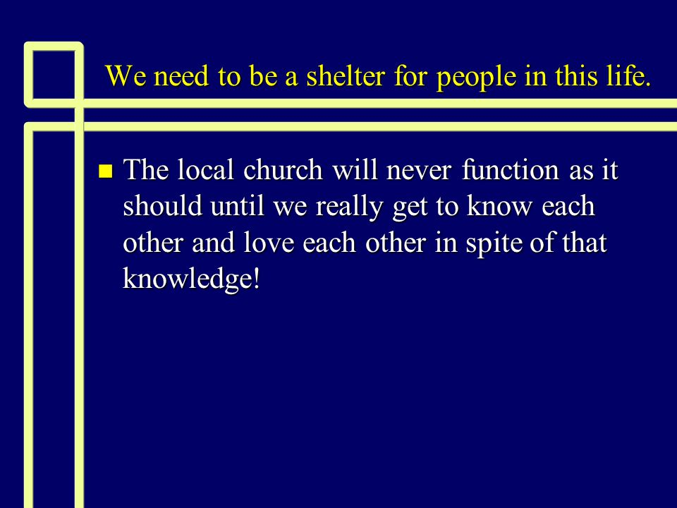 How we can provide refuge today n This required time and energy.