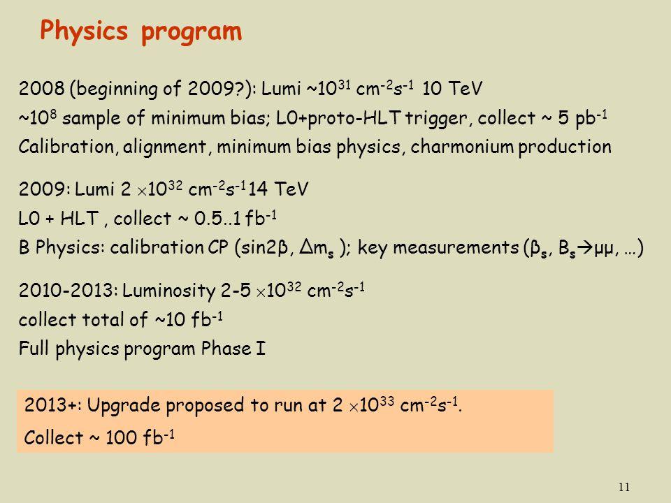 11 2008 (beginning of 2009?): Lumi ~10 31 cm -2 s -1 10 TeV ~10 8 sample of minimum bias; L0+proto-HLT trigger, collect ~ 5 pb -1 Calibration, alignme