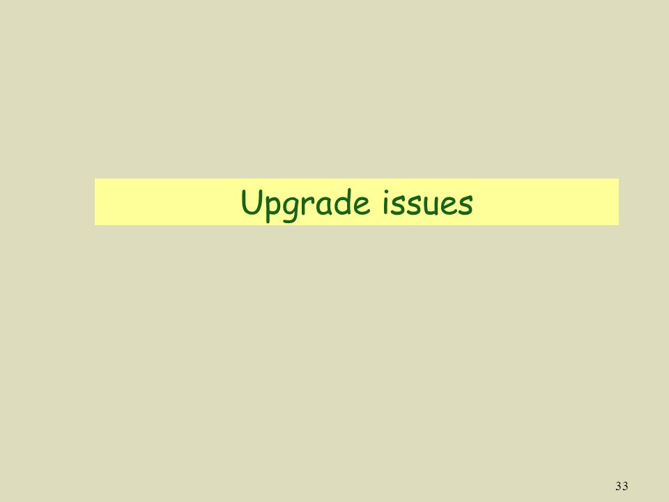 33 Upgrade issues