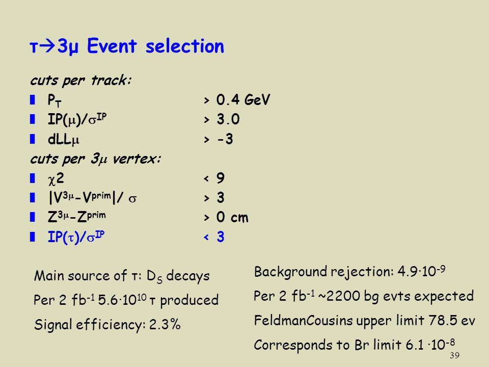 39 τ  3μ Event selection cuts per track: ❚ P T > 0.4 GeV ❚ IP(  )/  IP > 3.0 ❚ dLL  > -3 cuts per 3  vertex: ❚  2< 9 ❚ |V 3  -V prim |/  > 3 ❚