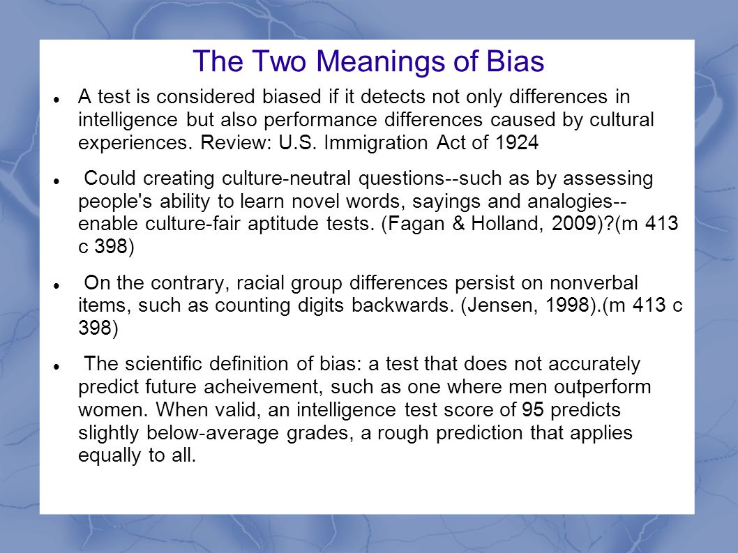 Test-Takers Expectations Spencer et al., (2002) observed a self-fulfilling stereotype threat among both women and Blacks when competing in math tests with White males.(m 414 c 398) If when taking an exam, you are worried that your type often doesn t do well, your self-doubts and self-monitoring may hijack your working memory and impair your performance.