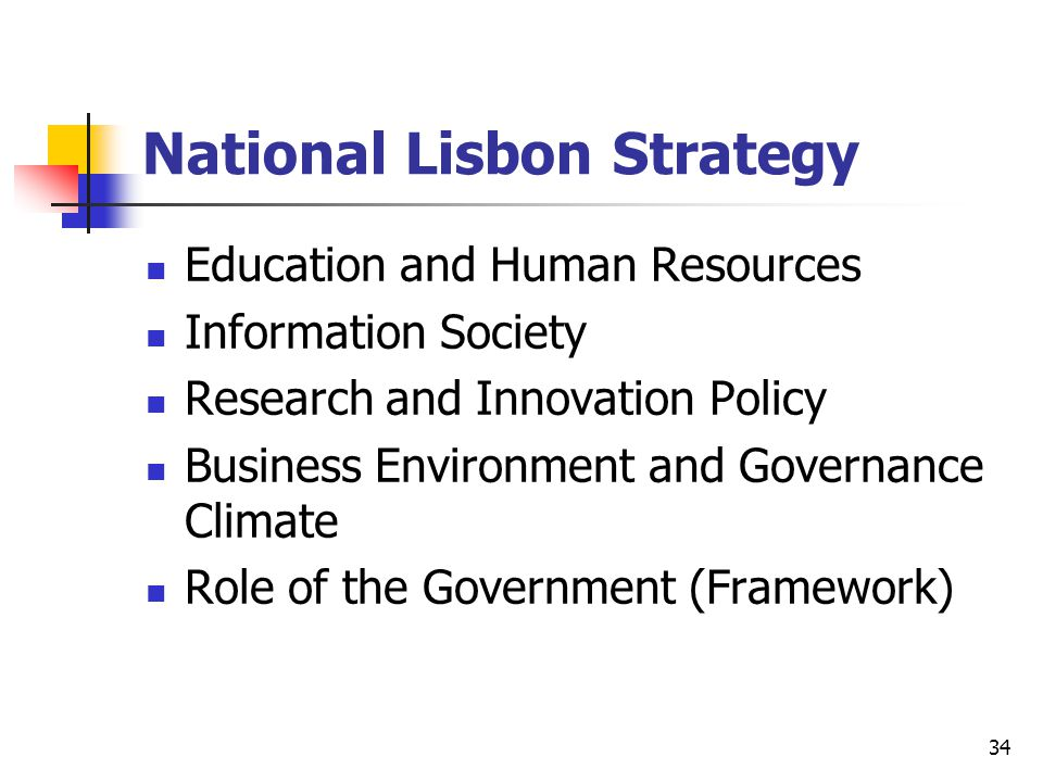 34 National Lisbon Strategy Education and Human Resources Information Society Research and Innovation Policy Business Environment and Governance Climate Role of the Government (Framework)