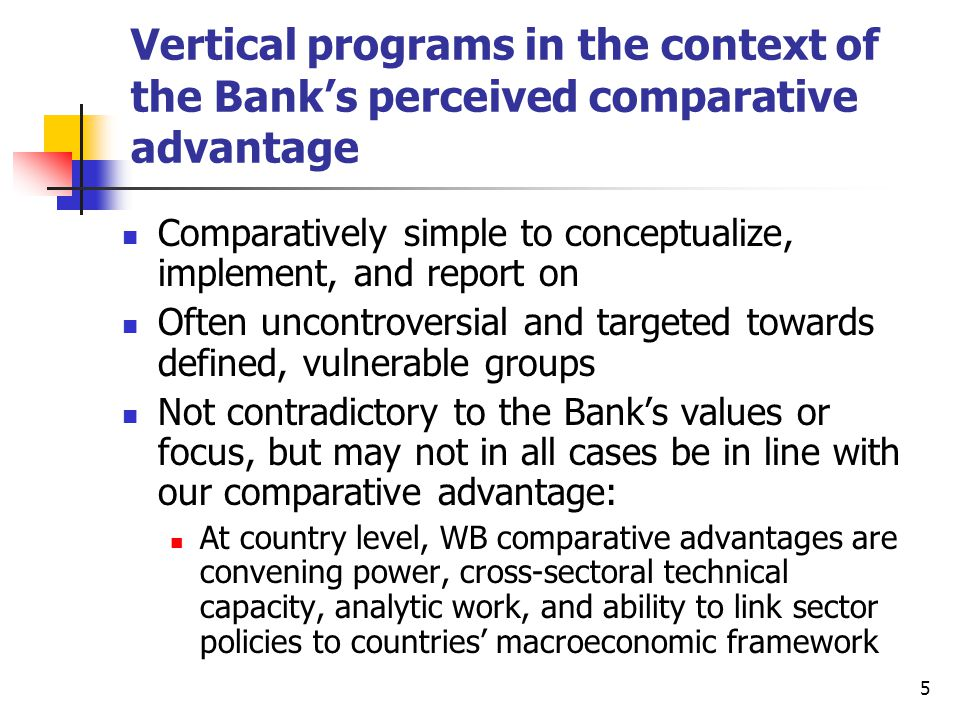 6 WB approach and reality check: managing inevitable trade-offs at country level among competing priorities Support country development in a systemic manner focus on long-term results country ownership Capacity-building and institutional development Balance a country's needs and demands and (sectoral) supply and advocacy Manage constant trade-offs within and between sectors / operations as competing priorities vie for attention and funding Increasing attention paid to the concept of binding constraints Country Teams must focus on solving binding constraints and Bank's comparative advantage Country Directors are fund holders and ultimate arbiters must strike a balance among competing sectoral priorities against background of financial constraints Challenges: strengthen results framework effective multi-sector work live up to claim of our comparative advantage