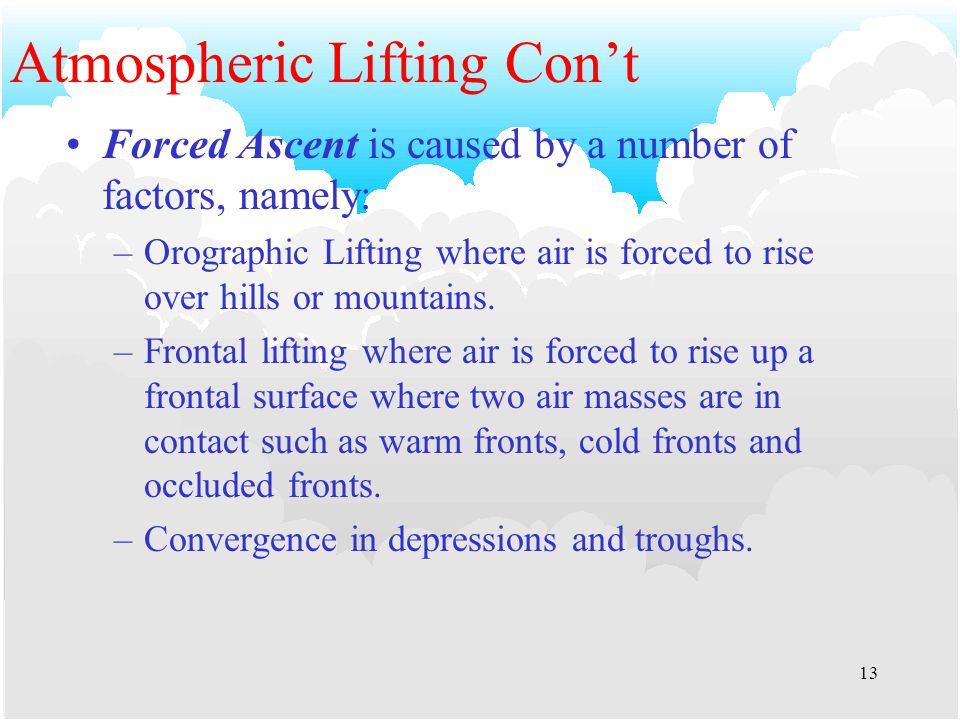 12 Atmospheric Lifting Convective Lifting, cont'd Additionally stable air which has been forced to rise will have the ELR modified by the release of latent heat of condensation which can modify the lapse rate and so release latent instability and thus initiate convection.