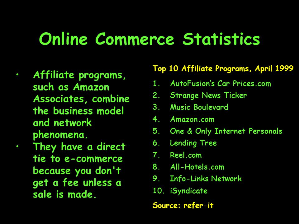 Online Commerce Statistics Affiliate programs, such as Amazon Associates, combine the business model and network phenomena.