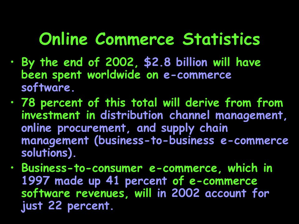 Online Commerce Statistics By the end of 2002, $2.8 billion will have been spent worldwide on e-commerce software.