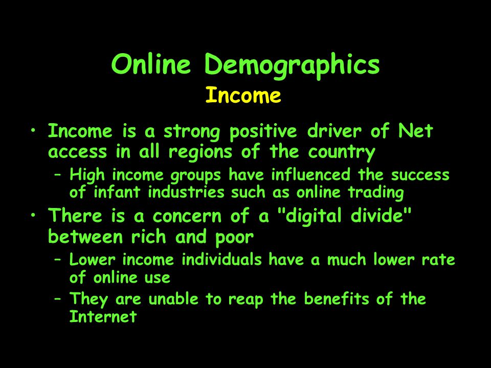 Online Demographics Education Quotable Quote: Early adopters of the Net are the most educated members of society.
