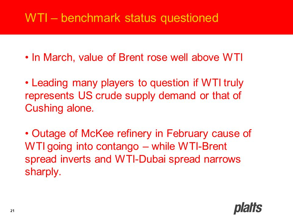 21 WTI – benchmark status questioned In March, value of Brent rose well above WTI Leading many players to question if WTI truly represents US crude su