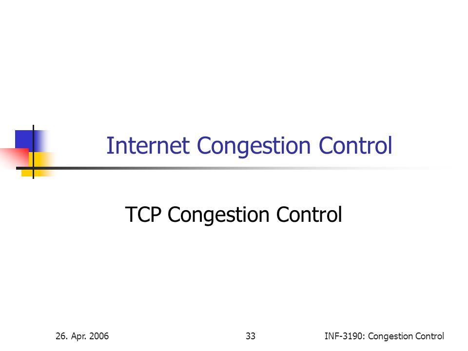 26. Apr. 200633INF-3190: Congestion Control Internet Congestion Control TCP Congestion Control