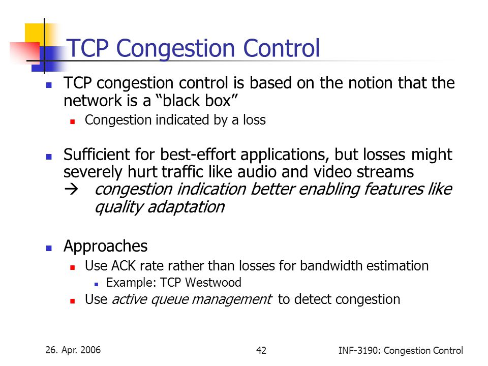 """26. Apr. 2006 42INF-3190: Congestion Control TCP Congestion Control TCP congestion control is based on the notion that the network is a """"black box"""" Co"""