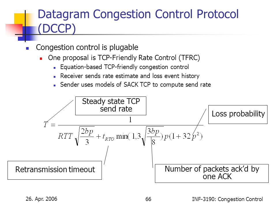 26. Apr. 2006 66INF-3190: Congestion Control Datagram Congestion Control Protocol (DCCP) Congestion control is plugable One proposal is TCP-Friendly R