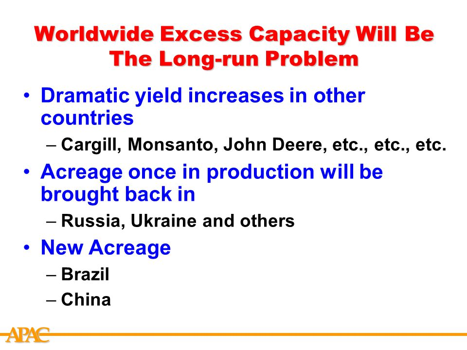 APCA Worldwide Excess Capacity Will Be The Long-run Problem Dramatic yield increases in other countries –Cargill, Monsanto, John Deere, etc., etc., etc.