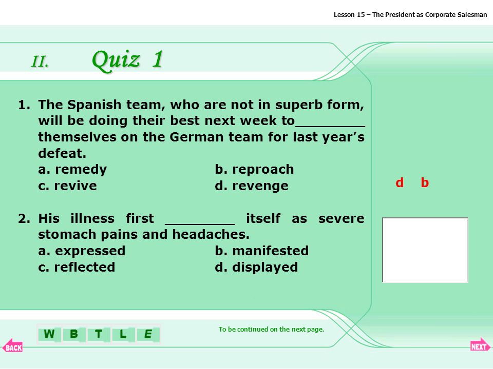BTLEW II. Quiz List: 1. Quiz 1Quiz 1 2.