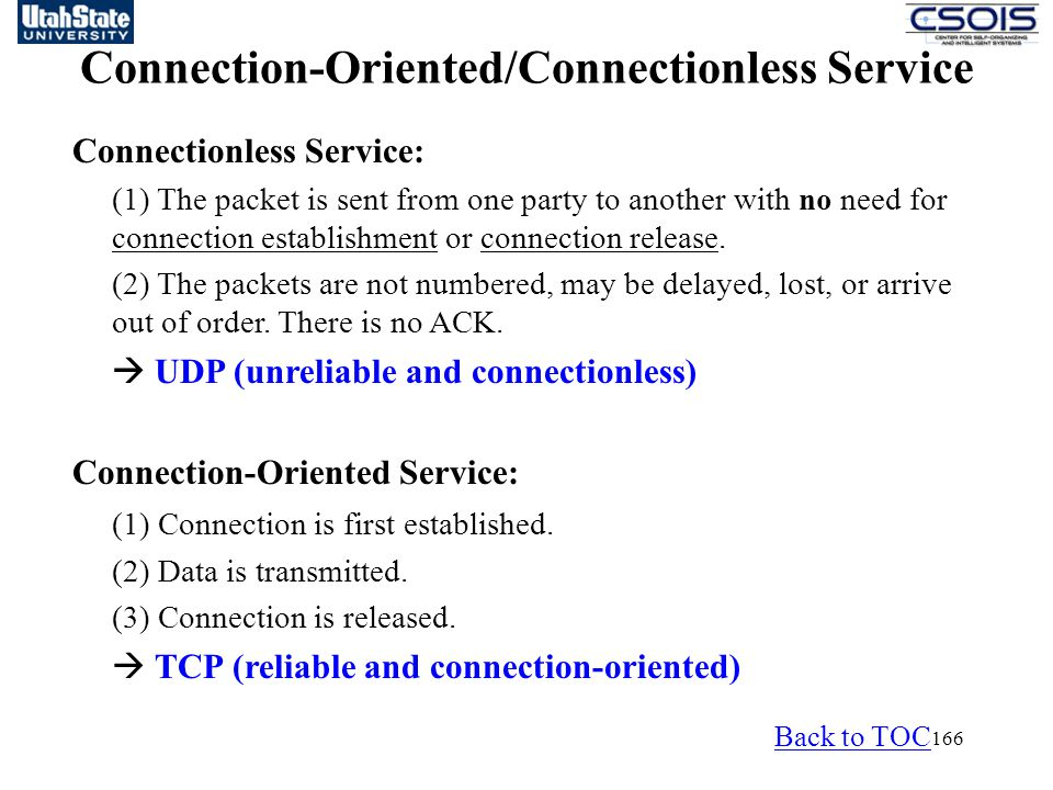 166 Connection-Oriented/Connectionless Service Connectionless Service: (1) The packet is sent from one party to another with no need for connection establishment or connection release.