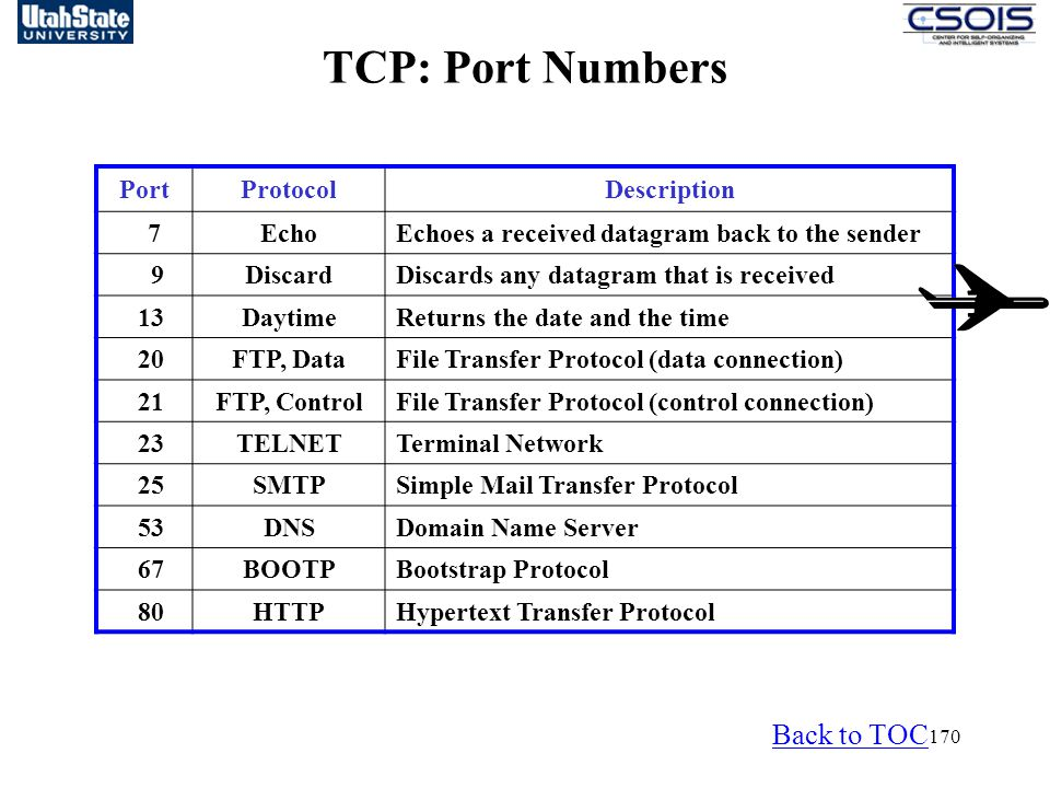 170 PortProtocolDescription 7EchoEchoes a received datagram back to the sender 9DiscardDiscards any datagram that is received 13DaytimeReturns the date and the time 20FTP, DataFile Transfer Protocol (data connection) 21FTP, ControlFile Transfer Protocol (control connection) 23TELNETTerminal Network 25SMTPSimple Mail Transfer Protocol 53DNSDomain Name Server 67BOOTPBootstrap Protocol 80HTTPHypertext Transfer Protocol TCP: Port Numbers Back to TOC