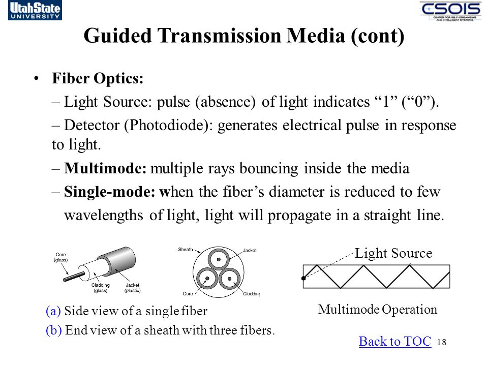 18 Guided Transmission Media (cont) Back to TOC Fiber Optics: – Light Source: pulse (absence) of light indicates 1 ( 0 ).