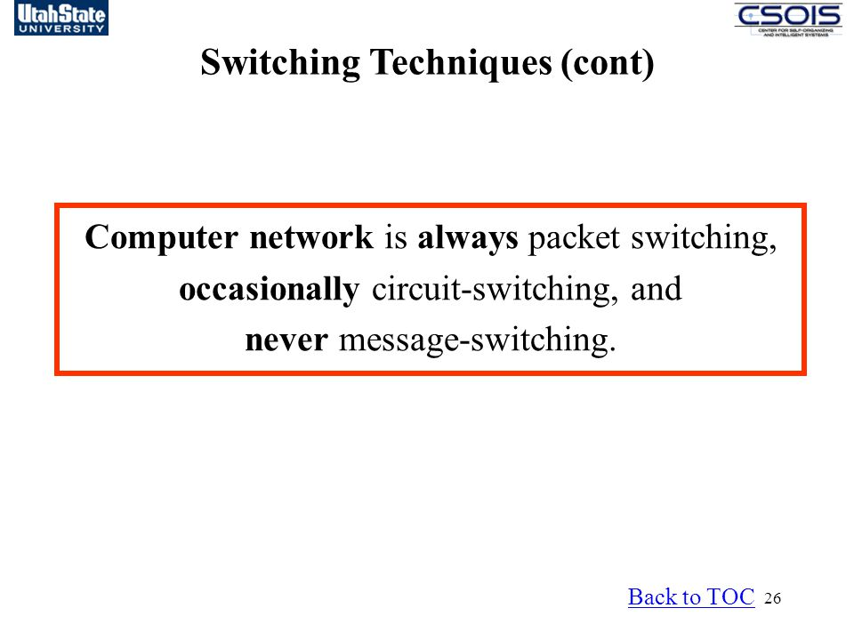 26 Switching Techniques (cont) Back to TOC Computer network is always packet switching, occasionally circuit-switching, and never message-switching.