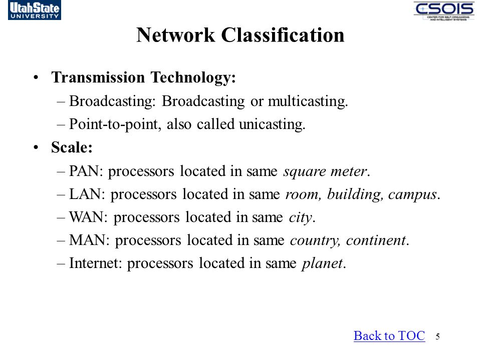 5 Network Classification Transmission Technology: – Broadcasting: Broadcasting or multicasting.