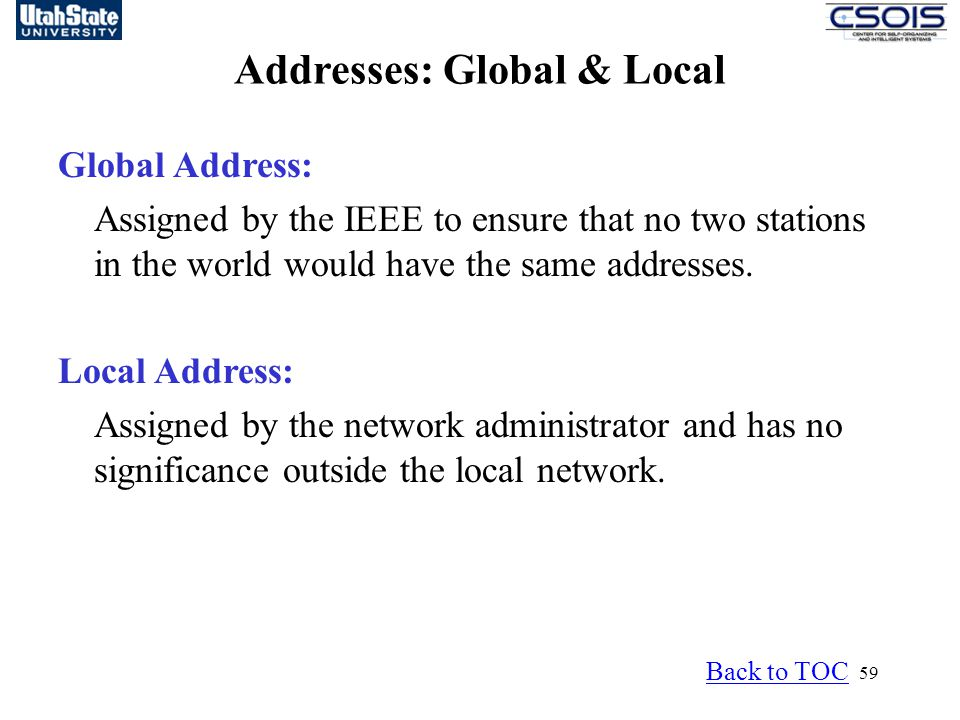 59 Global Address: Assigned by the IEEE to ensure that no two stations in the world would have the same addresses.