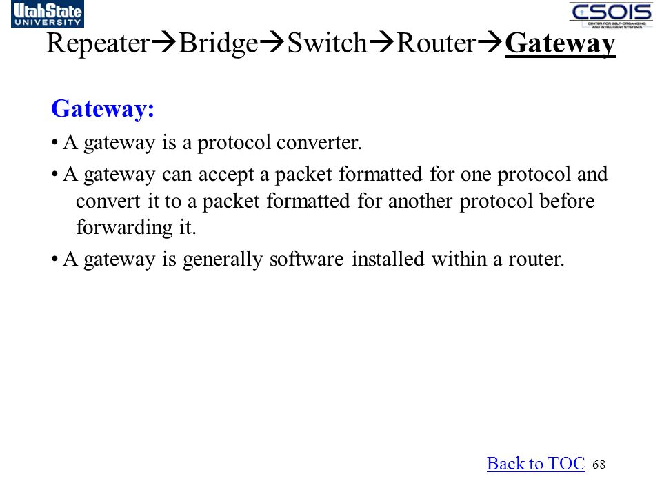 68 Repeater  Bridge  Switch  Router  Gateway Gateway: A gateway is a protocol converter. A gateway can accept a packet formatted for one protocol