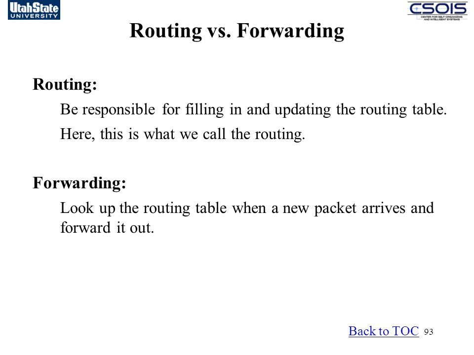 93 Routing vs.Forwarding Routing: Be responsible for filling in and updating the routing table.