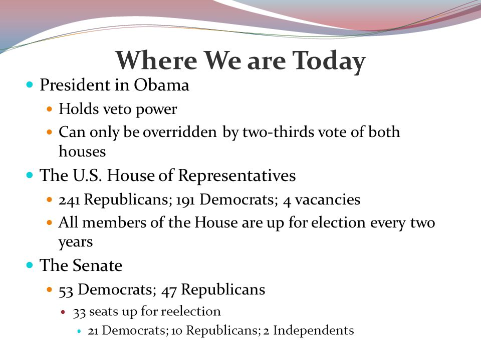 Where We are Today President in Obama Holds veto power Can only be overridden by two-thirds vote of both houses The U.S.