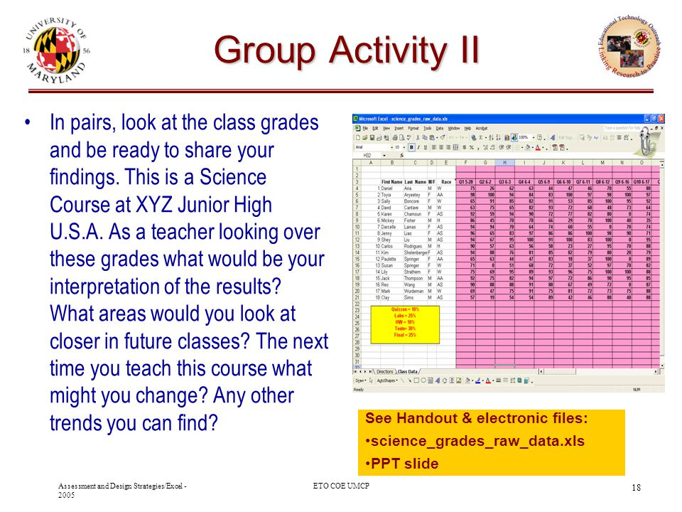 Assessment and Design Strategies/Excel - 2005 ETO COE UMCP 18 Group Activity II In pairs, look at the class grades and be ready to share your findings