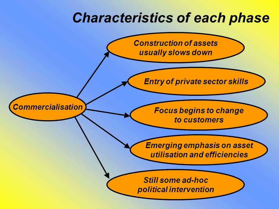 Characteristics of each phase Construction of assets usually slows down Commercialisation Entry of private sector skills Focus begins to change to customers Emerging emphasis on asset utilisation and efficiencies Still some ad-hoc political intervention