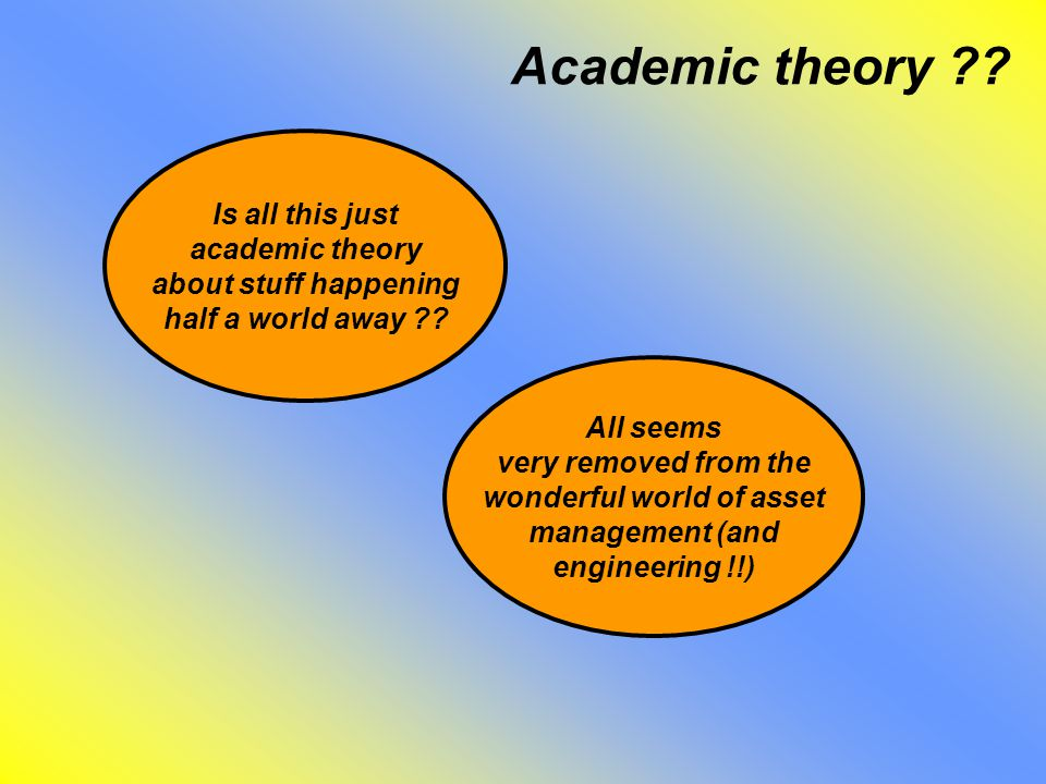 Academic theory . Is all this just academic theory about stuff happening half a world away .