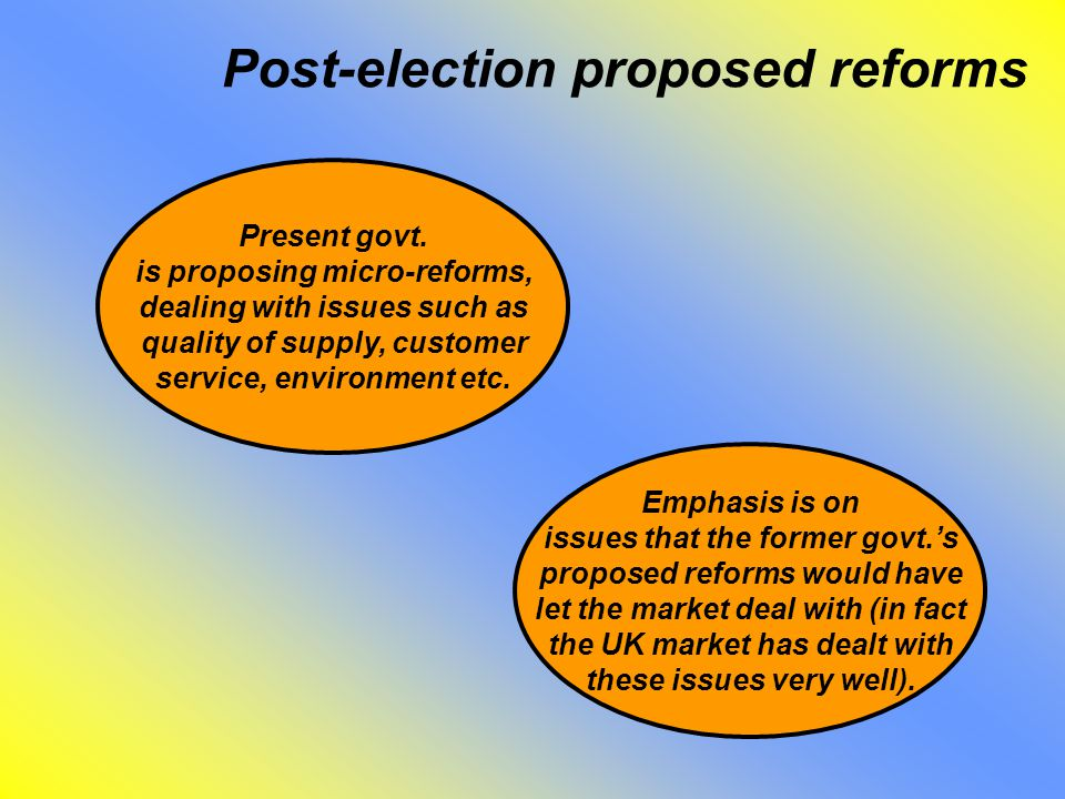 Post-election proposed reforms Present govt.