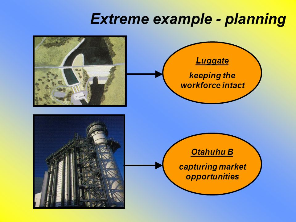 Extreme example - planning Luggate keeping the workforce intact Otahuhu B capturing market opportunities